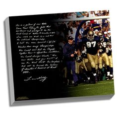 Lou Holtz Facsimile College Football Playoffs Stretched 22x26 Story Canvas