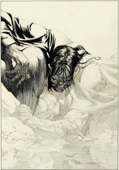 Bernie Wrightson's original art from Frankenstein, unpublished chapter 11 Gravure Illustration, Illustration Art, Comic Artist, Artist Art, Arte Zombie, Bernie Wrightson, Jordi Bernet, Comic Layout, Ink Master