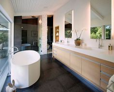 Minimalist Palette - Modern Bathroom - Ridge Skylight - Mid-century Remodel - Modern Home - Minimalist Palette