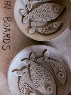 Ceramic fish plates in the making                                                                                                                                                                                 More
