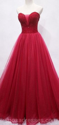Sweetheart Beaded Dark Red Long Evening Prom Dresses 0e99841dd0fa