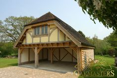 Looking for a really high quality wooden garage or carport? Heavy duty garage doors included Free double glazed windows Reinforced roof construction 10 Year Guarantee Direct from the Manufacturer Made of Slow Grown timber Secure do Garage Guest House, Barn Garage, Oak Framed Buildings, Timber Buildings, Carport Designs, Garage Design, Garage With Room Above, Timber Frame Garage, Aluminum Carport