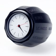 Van Der Waals Molded World Time Clock  great idea. Just turn to match your time zone