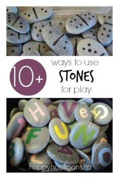 10+ ways to add simple stone activities to your child's indoor and outdoor play space today! #play #creativity #kids