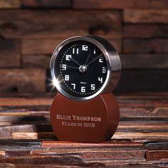 Personalized Desktop Clock Engraved Monogrammed by TealsPrairie