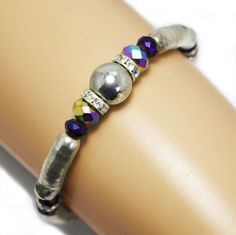 Upper ArmBand Bracelet Anklet Purple Crystals Rhinestones Snake Spacers Festival