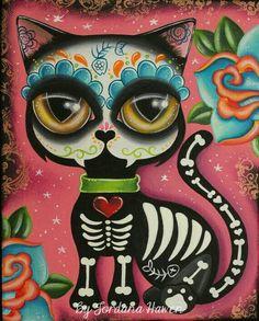 #Caveira Mecicana ☆ A #CaveiraMexicana Simboliza a Vida e afasta os Maus Espíritos.  É uma #Caveira Estilizada, Colorida e Decorada com Desenhos e Flores. Os Animais também tem Caveuras Estilizadas * #Felino #Gato