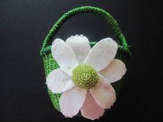 Flower Girl Basket Wedding Ivory Green daisy choose your colors #flowergirlbasket by ArtisanFeltStudio, $25.00