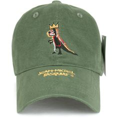 Jean-Michel Basquiat Dinosaur Crown Embroidery Adjustable Hat Baseball... (55 ILS) ❤ liked on Polyvore featuring accessories, hats, adjustable ball caps, crown hat, embroidery hats, adjustable baseball hats and embroidered baseball caps