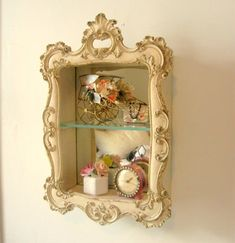 Reserved for Julia Syroco Wood Vintage Mirror Gilded Shadow Box Curio Display Cabinet