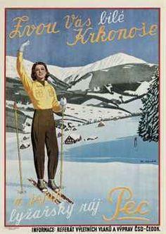 vintage ski poster by K. Hehl   ZVOU VÁS BILÉ KRKONOSE