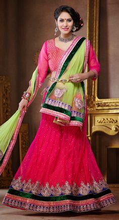 Pink color Party Wear Lehnga Choli-Net #LehengaCholi