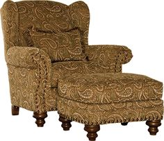 Mayo Furniture 3200 Fabric Chair and Ottoman - Maybe Moss