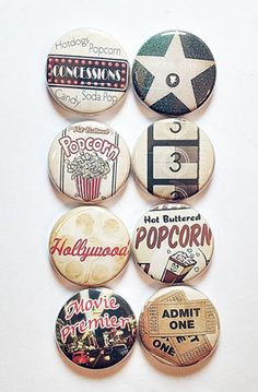 These are one inch flair buttons. There are 8 buttons in this set. Graphics from Masterpiece Designs here on Etsy Custom Buttons, Metal Buttons, Diy Souvenirs, Button Maker, Vintage Bee, Vintage Makeup, Pin And Patches, Cute Pins, Vintage Movies