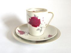 Cmielow Coffee Cup Trio Red Roses 1950s by mish73 on Etsy, £6.50