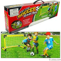 DELUXE SOCCER GOAL SETS. Includes 6 inch soccer ball, 6 inch air pump, 30 inch soccer goal and 4 securing pegs for goal. Some assembly required. Assorted colors. Each gift boxed with carrying handle.  Size 15 X 19 X 30 inch goal, packaging 3.5 X 7.5 X 24.5 Inches