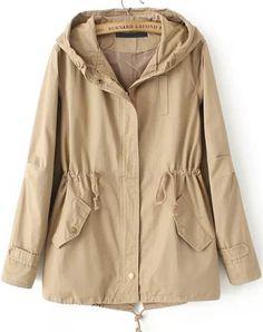 Abrigo con capucha bolsillos-kaki 31.20