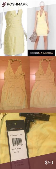 BCBG pleated halter dress Chic style. Yellow dress for sale only last picture to show fit and style BCBGMaxAzria Dresses