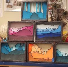 tint/shade landscape shadowbox - Sculpture - Print the sulpture y. - tint/shade landscape shadowbox – Sculpture – Print the sulpture yourself - Programme D'art, Shadow Shadow, 3d Art Projects, Art Education Projects, Art Education Lessons, Classe D'art, Middle School Art Projects, School Ideas, 7th Grade Art