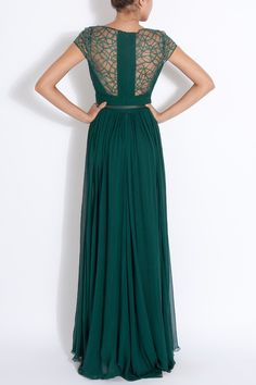 Elie Saab Cap Sleeves Lace Detail Gown in Green (emerald)