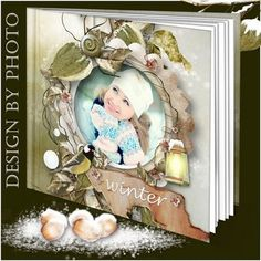 Free Christmas photo album template psd, winter photobook psd template - Free download