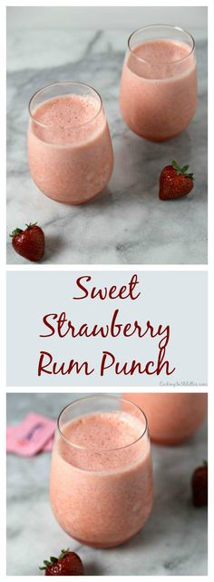 This Sweet Strawberry Rum Punch is the perfect summer sip. Sweet strawberries and fresh pineapple blended with fresh citrus, a touch of rum and a little bit of sweetness thanks to Sweet'N Low® #DontHesitaste   Cooking In Stilettos ~ http://cookinginstilettos.com  #Sponsored
