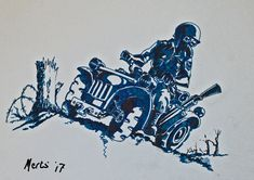 concept WWII ATV pen and ink drawing illustration dieselpunk