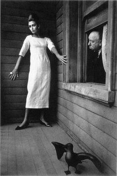 ina balke & alfred hitchcock photographed on the set ofpsychofor harper's bazaar - jeanloup sieff, january 1962