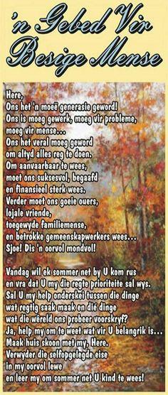 Gebed vir besige mense #Afrikaans