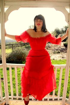 Vintage Red Chiffon Dress with Ruffle Tiered Hem Off the Shoulders M L Vintage Dresses For Sale, Vintage Outfits, Chiffon Ruffle, Chiffon Dress, Dress For You, New Dress, Tiered Skirts, Vintage 70s, Alternative Fashion
