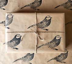 Hand Printed Bird Gift Wrap - Blue Tit - One Sheet - 50 x 70 cms by HandmadeandHeritage on Etsy