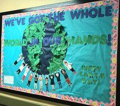 World / earth day preschool bulletin board – Weltreise – trendon World Bulletin Board, Science Bulletin Boards, Earth Day Projects, Earth Day Crafts, Art Projects, World Earth Day, Earth Month, Kindergarten, Earth Day Activities