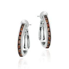 Sterling Silver Orange CZ Half Hoop Earrings, Women's
