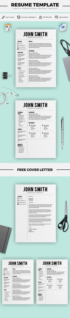 GET HIRED - Resume Template - CV Template - Free Cover Letter - MS