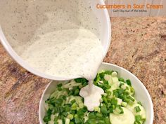 Cucumbers in Sour Cream – Can't Stay Out of the Kitchen Cucumber Canning, Marinated Cucumbers, Cucumber Recipes, Cucumber Salad, Salad Recipes, Sour Cream Cucumbers, Creamed Cucumbers, Cucumbers And Onions, Healthy Broccoli Salad