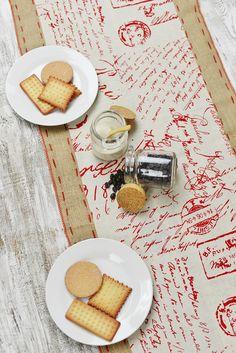 Burlap & Linen Red Script Table Runner 6ft