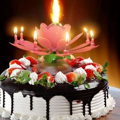 Double Layers Lotus Birthday Candle with Music Rotating Candle happy birthday song - Birthdays Happy Birthday Musik, Happy Birthday Wishes Cake, Happy Birthday Cake Images, Magic Birthday, Happy Birthday Celebration, Beautiful Birthday Cakes, Birthday Songs, Happy Birthday Parties, Happy Birthday Messages