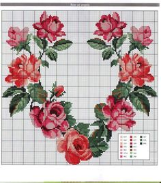 Rose heart, one of the most beautiful I have seen ~ Brenda Cross Stitch Pictures, Cross Stitch Heart, Cross Stitch Flowers, Cross Stitching, Cross Stitch Embroidery, Embroidery Patterns, Cross Stitch Designs, Cross Stitch Patterns, Le Point