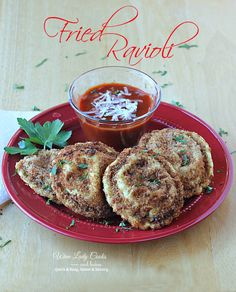 Fried Ravioli Air Fryer Recipe easy for appetizers, game day snacks or side dish. Click thru for easy recipe.
