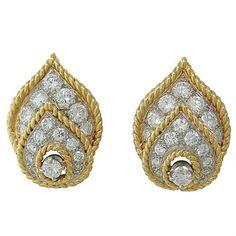 1960s Van Cleef & Arpels Diamond 18K Gold Earrings | Oak Gem