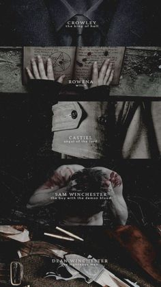 Crowley, Rowena, Castiel, Dean and Sam Winchester Supernatural Fans, Wallpapers Supernatural, Supernatural Background, Supernatural Fan Art, Sherlock, Sam E Dean, Photocollage, Fandoms, Winchester Brothers