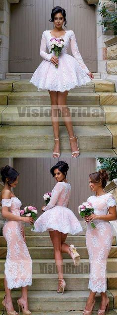 Mismatched Different Styles Pink Lace Bridesmaid Dresses, Bridesmaid Dresses, VB0730 #bridesmaiddress #bridesmaidsdresses