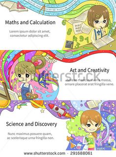 Stylish colorful infographic cartoon girl children studying maths and calculation, art creativity, science and discovery, in artistic fantasy banner background template layout design, create by vector