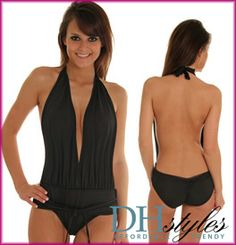 DH-Swimwear-4269-Black Daring Open-Back Plunging One Piece Swimsuit-$26.99