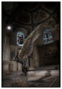 """""""Lucifer (Morning Star) is an installation at the Holy Church in Marylebone depicting a wax Lucifer suspended by high-power lines. 2008."""""""