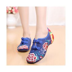 Old Beijing Shoes Summer National Style Vintage Shoes Blue