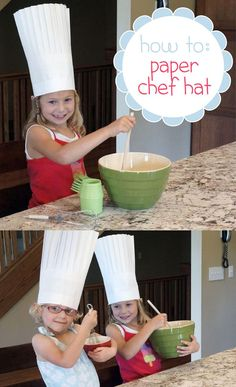 So adorable! The kids will want to help out in the kitchen if they get to wear these easy-to-make paper chef's hat! www.ehow.com/...