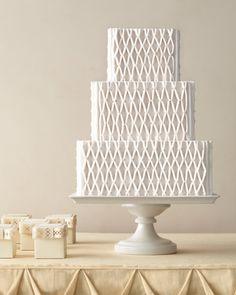Three-Tiered, Netted White Wedding Cake
