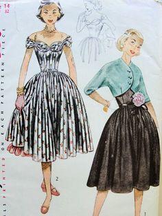 1950s PRETTY PARTY DRESS, BOLERO, PETTICOAT PATTERN LOVELY DRAPED NECKLINE ON or OFF SHOULDERS SIMPLICITY PATTERNS 3752