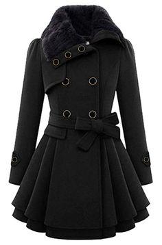 054768bb0a9 Lemosery Women s Stylish Lapel Faux Fur Collar Wool Blend Long Sleeve  Trench Coat Dress Coat Trench
